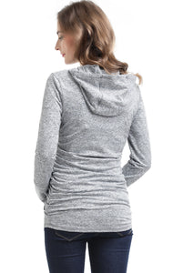 "Kimi + Kai ""Haven"" Striped Side Ruched Performance Maternity Hoodie"