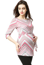 "Load image into Gallery viewer, Kimi + Kai Maternity ""Delia"" Chevron Boat Neck Top"