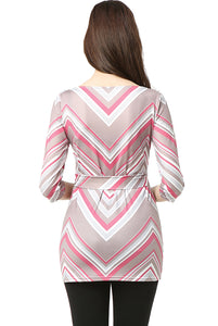 "Kimi + Kai Maternity ""Delia"" Chevron Boat Neck Top"