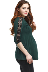 "Kimi + Kai Maternity ""Lucy"" Lace Accent Pleated Top"