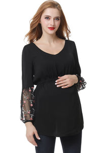 "Kimi + Kai ""Gisel"" Embroidered Mesh Maternity Blouse"