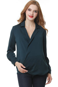 "Kimi + Kai ""Brook"" Surplice Drape Front Maternity Blouse"