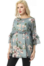 "Load image into Gallery viewer, Kimi + Kai ""Audrey"" Nursing Maternity Floral Print Blouse"