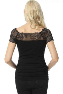 "Kimi + Kai ""Valerie"" Lace Shoulder Maternity Ruched Top"