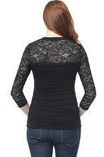 "Load image into Gallery viewer, Kim + Kai ""Rainey"" Ruched Maternity Lace Accent Top"