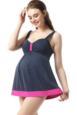 "Kimi + Kai Maternity ""Jade"" Skirted Overlay One Piece Swimsuit"
