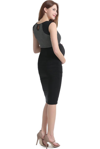 "Kimi + Kai Maternity ""Lindsey"" Polka Dot Bodycon Dress"