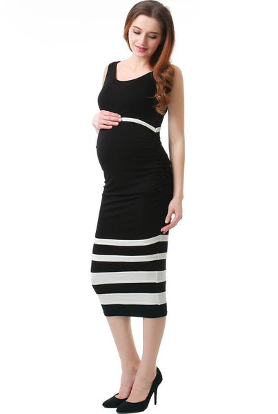 "Kimi + Kai Maternity ""Miranda"" Colorblock Bodycon Midi Dress"