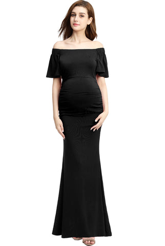 "Kimi + Kai Maternity ""Abigail"" Off Shoulder Maxi Dress"