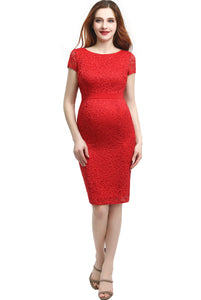 "Kimi + Kai Maternity ""Nancy"" Lace Midi Dress"