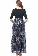 "Load image into Gallery viewer, Kimi + Kai ""Annabelle"" V-Neck Mesh Print Maxi Dress"