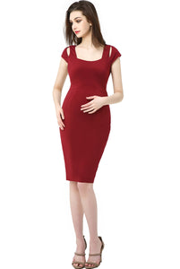 "Kimi + Kai Maternity ""Julie"" Cold Shoulder Body-Con Dress"