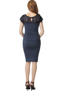 "Kimi + Kai Maternity ""Morgan"" Lace Trim Body-Con Dress"