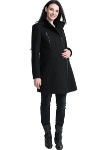 "Kimi + Kai Maternity ""Cordella"" Zip Front Wool Blend Coat"