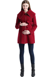 "Kimi + Kai Maternity ""Mia"" Wool Blend Fold Collar Coat"