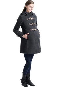"Kimi + Kai Maternity ""Paisley"" Wool Blend Duffle Toggle Coat"