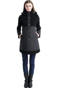 "Kimi + Kai Maternity ""Tessa"" Wool Blend Colorblock Coat"