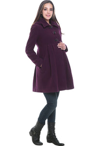 "Kimi + Kai Maternity ""Faye"" Wool Blend Pleated Coat"
