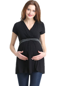 "Kimi + Kai ""Jasmine"" Maternity/Nursing Surplice Knit Top"