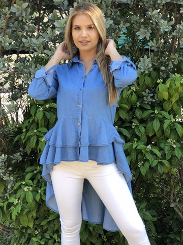 Natasha High Low Denim Ruffle Top