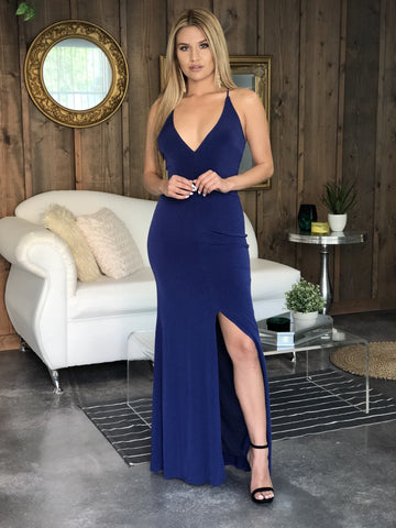 Gabrielle Plunging Bodycon Gown - Navy