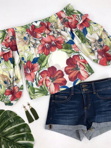 Kailani Off Shoulder Tropical Print Top