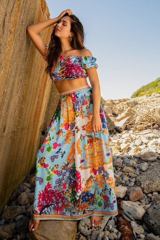 Theresa Off Shoulder Crop Top & Maxi Skirt Set