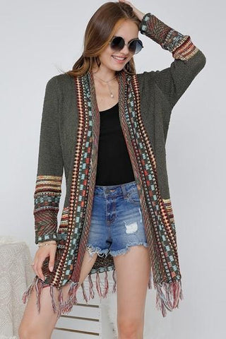Nathalie Ethnic Cardigan - Green