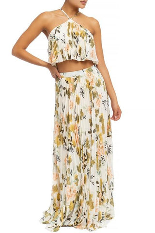 Joanne Pleated Floral Halter Top & Maxi Skirt Set