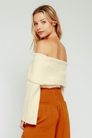 Allison Foldover Off Shoulder Crop Sweater - Cream