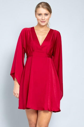 Julie Satin Kimono Dress - Red