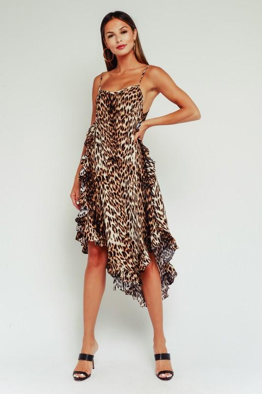 Fifi Leopard Ruffle Waterfall Dress