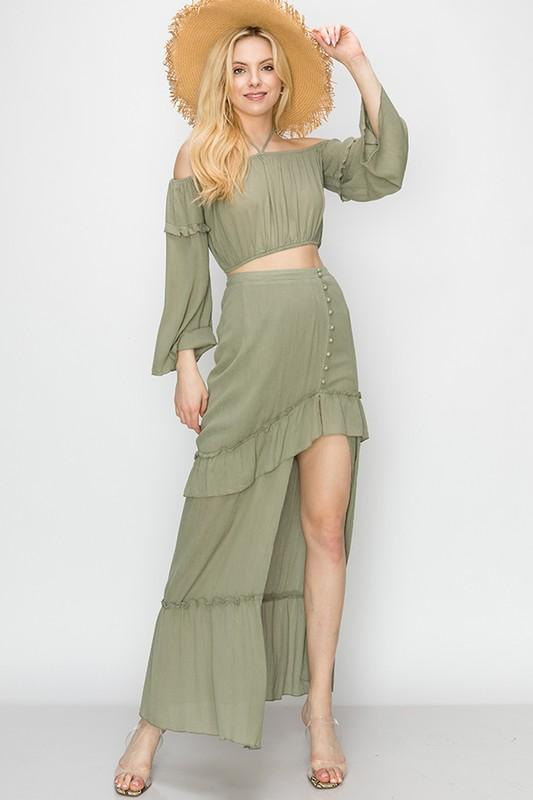 Tatiana Matching Crop Top & Maxi Skirt Set - Olive