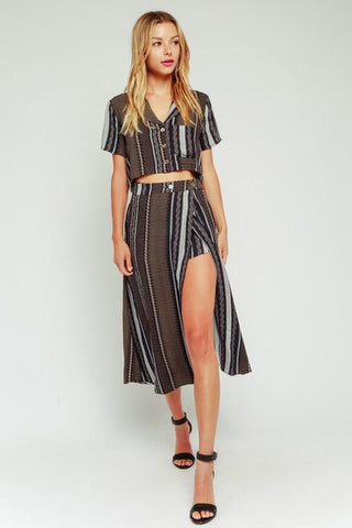 Romana Striped Matching Crop Top & Skirt Set