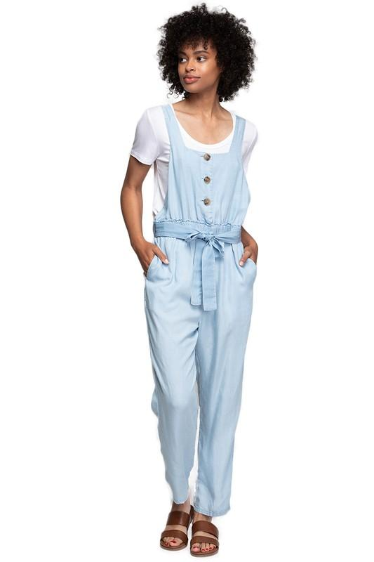 Terry Denim Overall Jumpsuit