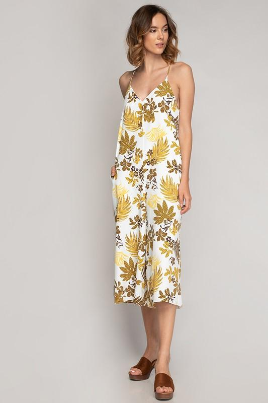 Nala Floral Cropped Jumpsuit - Yellow
