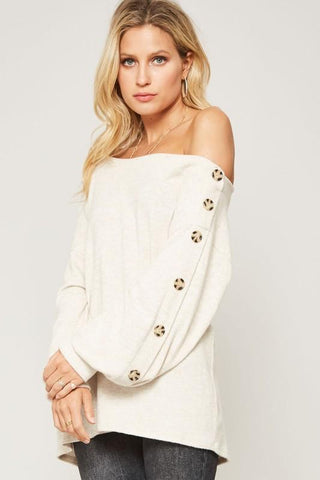 Lucille Off Shoulder Button Sweater - Oatmeal