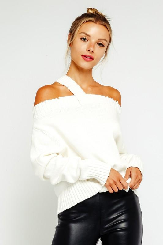 Tabitha Off The Shoulder One Strap Sweater - White
