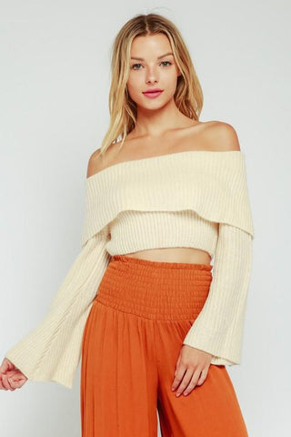 Allison Foldover Off Shoulder Crop Sweater - Black