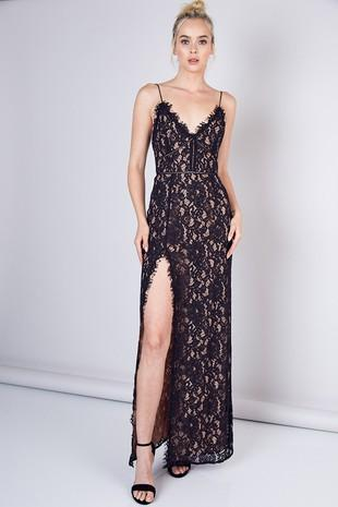 Suzette Lace Maxi Dress - Black