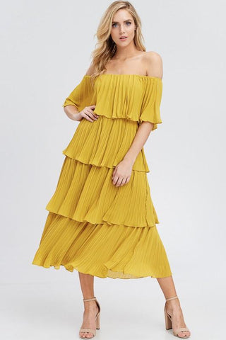 Violet Off Shoulder Layered Pleated Midi Dress - Mustard