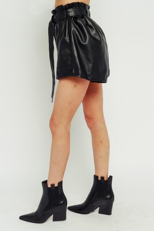 Desiree Paperbag Faux Leather Shorts