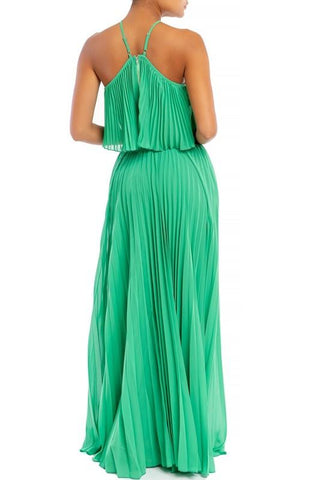 Lorena Pleated Matching Crop Top & Maxi Skirt set