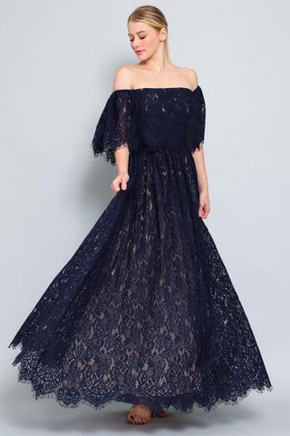 Milenna Off Shoulder Lace Maxi Dress