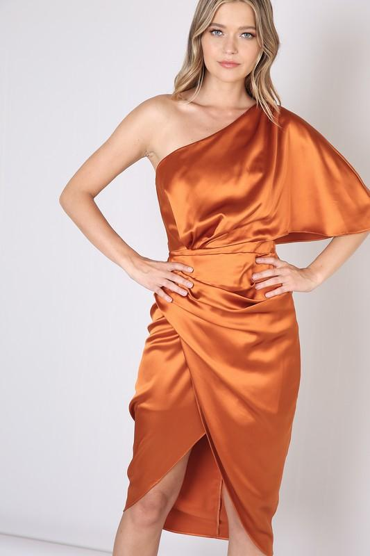 Alma Rust One Shoulder Satin Dress