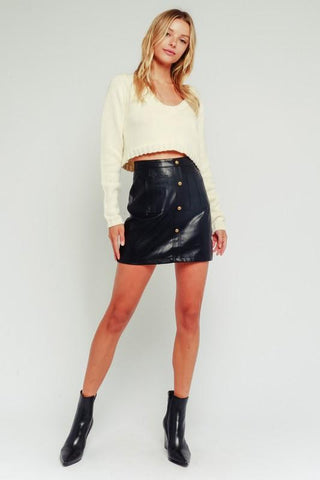 Roxy Leather Button Up Mini Skirt - Black