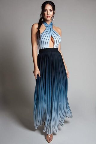 Veronique Halter Ombre Pleated Maxi Dress