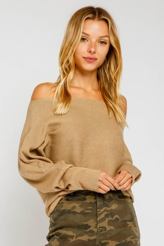 Sarabeth Ribbed Off the Shoulder Sweater - Mocha