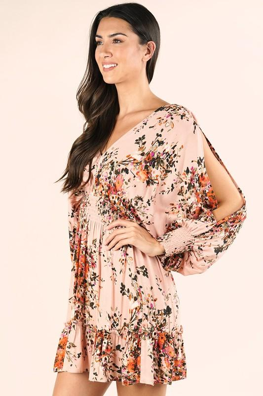 Maia Floral Print Split Sleeve Ruffle Mini Dress