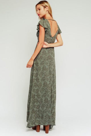Amina Leaf Print Maxi Dress